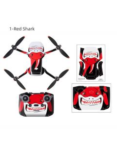 Sunnylife PVC sticker Waterproof Scratch-proof Decals Full Cover Skin for Mini 2 (Red Shark)